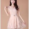 Korea brand เดรสสุดหรู ตัวเสื้อผ้าถักลายดอกไม้สีชมพูโอรส