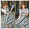 lack&White stripe Dress style Korea ชุดเดรส ลายทาง ขาว&ดำ แฟชั่นสไตล์เกาหลี เนื้อผ้าอย่างดี เนื้อผ้าเกรดคุณภาพ แต่งซิปด้านหลัง ความพิเศษของรุ่นนี้คือ