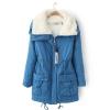 fashion เสื้อคลุมกันหนาว ขนแกะ สีฟ้า (รอสินค้า15-20วัน)
