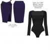 bodysuit ผ้าหนาแขนยาวคอสี่เหลี่ยม