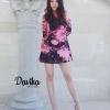 เดรสลายผ้าพิมพ์ดอกกุหลาบสีชมพู