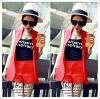 (แดง) เซทสูท+เสื้อตัวใน+กางเกง เป็นผ้าแคนวาทเนื้อดีเสื้อแพทเทินสวยใส่แล้วไม่ตกเทรนชุดนี้
