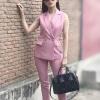 เซ็ตเสื้อแขนกุดคอปกสีชมพู ตกแต่งด้วย