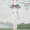 Wila@Kitten Cameo Stripe Dress เดรสผ้าไหมกำมะหยี่สีครีมพิมพ์ลายที่ระบายย้วยรอบคอ และกระเป๋าหน้า