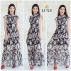 Ruffle Printed Chiffon Maxi Dress With Crystal Buttons