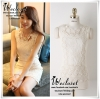 แบรนด์เกาหลี ... เสื้อผ้าคอตตอนผสม ยืดหยุ่นได้ดี สีขาว แขนกุด ด้านหน้าเสื้อแต่งด้วย ผ้าถักโครเชต์ สวยค่ะ