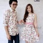 ชุดคู่รักออกงาน ชุดลายดอกสีโทนชมพูหวานๆ