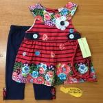 เสื้อผ้าเด็ก เซตเสื้อ-เลกกิ้ง-สายคาดผม 0-9 เดือน size 3m-6m-9m ลายดอก สีแดง-ดำ