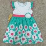 เสื้อผ้าเด็ก 5-7ปี size 5Y-6Y-7Y ลายดอกไม้ สีเขียวมิ้นต์/ขาว
