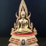 พระพุทธชินราช5นิ้ว ฐานสองชั้น เนื้อทองเหลืองขัดมัน ออกจากวัดใหญ่ รหัส 468