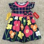 เสื้อผ้าเด็ก แรกเเกิด-9เดือน size 3m-6m-9m ลายดอกไม้ พื้นหลังสีกรม