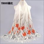 ผ้าพันคอ Pashmina พาสมีน่า ลาย ดอกไม้ PM00102-2