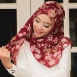 ผ้าคลุม อิสลาม วิสคอส viscose พิมพ์ลาย HJ07038-1