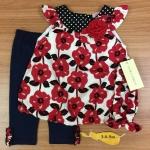 เสื้อผ้าเด็ก เซตเสื้อ-เลกกิ้ง-สายคาดผม 0-9 เดือน size 3m-6m-9m ลายดอกไม้ 1807-2