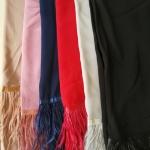 ผ้าคลุม ชีฟอง CHIFFON สีพื้น แต่งขนนก
