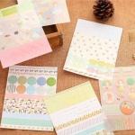 (8 แผ่น/ชุด) สติ๊กเกอร์ Flower & Starry Sky Diary Deco Pack
