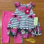 เสื้อผ้าเด็ก เซตเสื้อ-เลกกิ้ง-สายคาดผม 12-24เดือน size 12m-18m-24m ลายดอก สีชมพู-ขาว