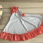 ผ้าคลุมเด็ก เนื้อผ้ายืด ระบายชาย แต่งโบว์ สม๊อคหลัง HB02-007