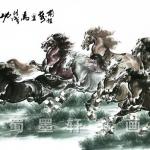 ภาพพิมพ์ ลายภาพวาดพู่กันจีน ม้ามงคล8ตัว 65*135cm cnn02
