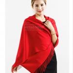 ผ้าพันคอ Red Cashmere แคชเมียร์ สี แดง สด CM01007