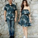 ชุดคู่รักไปทะเล พิมพ์ลายต้นมะพร้าว