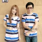 เสื้อคู่รักเกาหลี ผ้ายืดริ้วสีฟ้า + กรม + โอรสตัดกันอย่างลงตัว