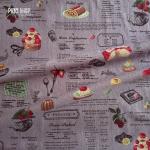 ผ้าญี่ปุ่น YUWA (ลายเค้ก พื้นม่วง)
