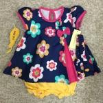 เสื้อผ้าเด็ก เซต 3ชิ้น ขาสั้น แรกเกิด-9 เดือน size 3m-6m-9m ลายดอกไม้ สีกรมท่า