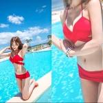 ชุดว่ายน้ำบิกินี่สุดเปรี้ยว สีแดง ออกแบบการใส่ได้หลากหลายสไตล์ค่ะ น่ารักมากๆค่ะ ไซส์ M, L