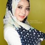 ผ้าคลุม อิสลาม วิสคอส viscose พิมพ์ลาย ดอกไม้ โทนน้ำเงิน ดำ HJ07002