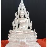 พระพุทธชินราชผสมมวลสารผงหินแร่เหล็กน้ำพี้สีขาวมุขรหัส 0139