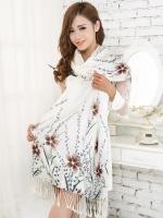 ผ้าพันคอ Pashmina พาสมีน่า ลาย ดอกไม้ PM00102-5