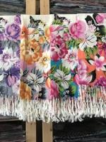 ผ้าพันคอ Pashmina พาสมีน่า ลายดอกไม้ PS04-001
