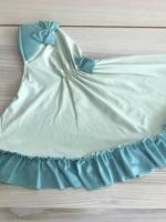 ผ้าคลุมเด็ก เนื้อผ้ายืด ระบายชาย แต่งโบว์ สม๊อคหลัง HB02-006