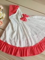 ผ้าคลุมเด็ก เนื้อผ้ายืด ระบายชาย แต่งโบว์ สม๊อคหลัง HB0201