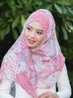 ผ้าคลุม อิสลาม วิสคอส viscose พิมพ์ลาย ดอกไม้ โทนชมพู HJ07008-1