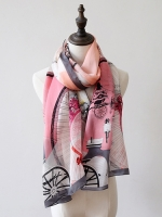 ผ้าพันคอ ผ้าคลุม ไหมญี่ปุ่น สกรีนลาย SJ01-002