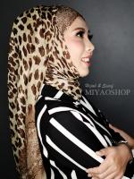 ผ้าคลุม อิสลาม วิสคอส viscose พิมพ์ลาย เสือ โทนน้ำตาล HJ07004