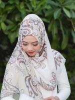 ผ้าคลุม อิสลาม วิสคอส viscose พิมพ์ลาย HJ07026-1