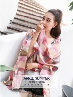 ผ้าพันคอ ผ้าคลุม ไหมญี่ปุ่น สกรีนลาย SJ01-001
