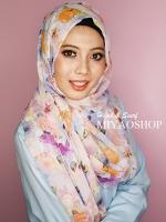 ผ้าคลุม อิสลาม วิสคอส viscose พิมพ์ลาย ดอกไม้ โทนชมพู HJ07001