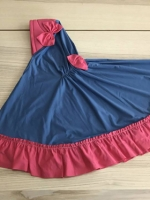 ผ้าคลุมเด็ก เนื้อผ้ายืด ระบายชาย แต่งโบว์ สม๊อคหลัง HB02-001