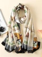 ผ้าพันคอ ผ้าคลุม ไหมญี่ปุ่น สกรีนลาย SJ01-011