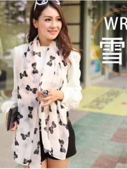 ผ้าพันคอ ชีฟอง สกรีนลาย Chiffon CF01-010-2