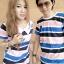 เสื้อคู่รักเกาหลี ผ้ายืดริ้วสีฟ้า + กรม + โอรสตัดกันอย่างลงตัว thumbnail 2