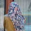 ผ้าคลุม อิสลาม วิสคอส viscose พิมพ์ลาย ดอกไม้ โทน น้ำเงิน HJ07009 thumbnail 3
