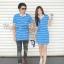 เสื้อโปโลคู่สีฟ้าริ้วเล็กสีขาวสวยสดใส thumbnail 1
