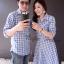เสื้อคู่รักลายสก็อตโทนสีฟ้า thumbnail 4