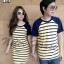 ชุดคู่รักพร้อมส่ง สีเหลืองริ้วสีน้ำเงินกรม thumbnail 2