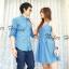 ชุดคู่รักเดรส ชุดคู่สีฟ้าสดใส ลายจุดสีขาว น่ารักมากๆ มาตามคำเรียกร้อง thumbnail 2